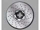Part No: 2958pb053  Name: Technic, Disk 3 x 3 with Disk Brake Silver Drilled Rotor and Star Shaped Hub with 5-Bolts Pattern (Sticker) - Set 8221