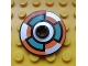 Part No: 2958pb055  Name: Technic, Disk 3 x 3 with Dark Turquoise, Silver and Orange 6 Section Pattern (Sticker) - Set 8305