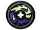 Part No: 2958pb059  Name: Technic, Disk 3 x 3 with Dark Purple and Yellowish Green Ghost Heads Pattern (Sticker) - Set 70734