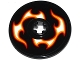 Part No: 2958pb060R  Name: Technic, Disk 3 x 3 with Red, Orange and White Flames Pattern Model Right Side (Sticker) - Set 42046