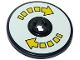 Part No: 2958pb066  Name: Technic, Disk 3 x 3 with Double Yellow Arrow Segmented Pattern (Sticker) - Set 10261