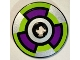 Part No: 2958pb090  Name: Technic, Disk 3 x 3 with Dark Purple, Lime and Silver Target Pattern (Sticker) - Set 8307