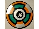 Part No: 2958pb091  Name: Technic, Disk 3 x 3 with Dark Turquoise, Orange and Silver Target Pattern (Sticker) - Set 8307