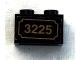 Part No: 3004pb132  Name: Brick 1 x 2 with Gold '3225' Pattern (Sticker) - Set 3225