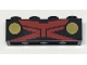 Part No: 3010pb219  Name: Brick 1 X 4 with Red X and Gold Circles Pattern