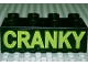 Part No: 3011pb014  Name: Duplo, Brick 2 x 4 with 'CRANKY' Text Pattern