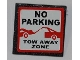 Part No: 30258pb024  Name: Road Sign 2 x 2 Square with Clip with 'NO PARKING' and 'TOW AWAY ZONE'  Pattern (Sticker) - Set 8198