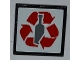 Part No: 30258pb029  Name: Road Sign 2 x 2 Square with Clip with Red Recycling Arrows and Bottle Pattern (Sticker) - Set 4206