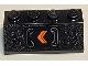Part No: 3037pb063L  Name: Slope 45 2 x 4 with Orange Chevron and Handles Pattern Model Left Side (Sticker) - Set 77905
