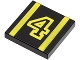 Part No: 3068bpb0010  Name: Tile 2 x 2 with Groove with Number  4 Yellow Outline and Stripes Pattern