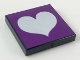 Part No: 3068bpb0083  Name: Tile 2 x 2 with Groove with Light Violet Heart on Purple Background Pattern