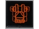 Part No: 3068bpb0484  Name: Tile 2 x 2 with Groove with Atlantis Triangle Logo and Orange Lines Pattern (Sticker) - Set 7985