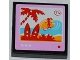 Part No: 3068bpb0752  Name: Tile 2 x 2 with Groove with 'TV' and Surfer and Palm Tree on Screen Pattern (Sticker) - Set 3184