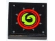 Part No: 3068bpb0792  Name: Tile 2 x 2 with Groove with Lime Swirl in Red Circles Pattern (Sticker) - Set 70504