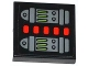 Part No: 3068bpb0793  Name: Tile 2 x 2 with Groove with Red Lights, Lime Light Bars and Buttons Pattern (Sticker) - Set 70504