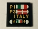 Part No: 3068bpb0897  Name: Tile 2 x 2 with Groove with Pit Board with Italian and Danish Flags, 'P1', 'P3', 'ITALY' and Ferrari Logos Pattern (Sticker) - Set 40194