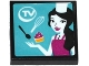 Part No: 3068bpb0982  Name: Tile 2 x 2 with Groove with 'TV' , Spoon, Whisk, Cupcake and Female Chef on Screen Pattern (Sticker) - Set 41135