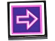 Part No: 3068bpb1052  Name: Tile 2 x 2 with Groove with Pink and White Arrow Outlines on Dark Purple Background Pattern (Sticker) - Set 41130