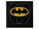 Part No: 3068bpb1411  Name: Tile 2 x 2 with Groove with Metal Plates, Rivets and Yellow Batman Logo Pattern (Sticker) - Set 76160