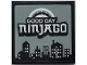 Part No: 3068bpb1702  Name: Tile 2 x 2 with Groove with 'GOOD DAY NINJAGO' and City Skyline Pattern (Sticker) - Set 70657