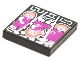 Part No: 3068bpb1764  Name: Tile 2 x 2 with Groove with BeatBit Album Cover - Girls Dancing, Middle Upside Down Pattern