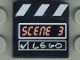 Part No: 3068bpx5  Name: Tile 2 x 2 with Groove with 'SCENE 3' and White 'LEGO', Check Mark and Stripes Clapperboard Pattern