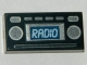 Part No: 3069bpb0348  Name: Tile 1 x 2 with Groove with Light Blue 'RADIO' and Silver Buttons Pattern