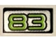 Part No: 3069bpb0925  Name: Tile 1 x 2 with Groove with Lime Number 83 on Silver Background Pattern (Sticker) - Set 8307