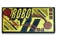 Part No: 3069bpx33  Name: Tile 1 x 2 with Groove with RoboForce Gold 'ROBO' and Red Circuitry Pattern