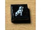 Part No: 3070bpb179  Name: Tile 1 x 1 with Groove with White Dog / Bulldog Pattern (Sticker) - Set 42078