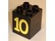 Part No: 31110pb030  Name: Duplo, Brick 2 x 2 x 2 with Number 10 Yellow Pattern