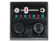 Part No: 33909pb002  Name: Tile, Modified 2 x 2 with Studs on Edge with Dark Turquoise and Magenta Buttons and Slider Pattern (Sticker) - Set 70828