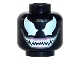 Part No: 3626cpb1066  Name: Minifigure, Head Alien with Large White Eyes and Wide Grin with Sharp White Teeth Pattern (Venom) - Hollow Stud