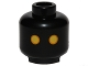 Part No: 3626cpb1159  Name: Minifigure, Head Alien with SW Jawa, Yellow Eyes with Orange Rim Pattern - Hollow Stud