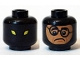 Part No: 3626cpb1369  Name: Minifigure, Head Dual Sided Alien with Yellow Eyes / Balaclava with Face Hole, Nougat Frowning Face with Crooked Glasses Pattern - Hollow Stud
