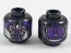 Part No: 3626cpb2004  Name: Minifigure, Head Alien Dark Purple and Silver Armor, 4 Magenta Eyes Pattern - Hollow Stud