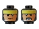 Part No: 3626cpb2257  Name: Minifigure, Head Dual Sided, Balaclava with Yellow Headband, Flesh Face, Frown / Bared Teeth Pattern - Hollow Stud