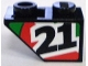 Part No: 3665pb003R  Name: Slope, Inverted 45 2 x 1 with Black Number 21 on Red and Green Stripes Pattern Model Right (Sticker) - Set 8898