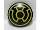 Part No: 3960pb030  Name: Dish 4 x 4 Inverted (Radar) with Solid Stud with Yellow Sinestro Logo Pattern