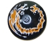 Part No: 3960pb057  Name: Dish 4 x 4 Inverted (Radar) with Solid Stud with Dragon Orange and White Pattern