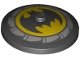 Part No: 3960pb066  Name: Dish 4 x 4 Inverted (Radar) with Solid Stud with Batman Logo and Light Bluish Gray Fan Blades Pattern