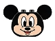 Part No: 39921pb02  Name: Duplo, Brick 2 x 4 x 2 Rounded Ends and Mouse Ears, Light Flesh Mickey Mouse Face Pattern