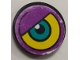 Part No: 4150pb016L  Name: Tile, Round 2 x 2 with Purple/Yellow Background and Dark Turquoise Eye Pattern Model Left Side (Sticker) - Set 8245