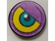 Part No: 4150pb016R  Name: Tile, Round 2 x 2 with Purple/Yellow Background and Dark Turquoise Eye Pattern Model Right Side (Sticker) - Set 8245