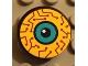 Part No: 4150pb020  Name: Tile, Round 2 x 2 with Yellow, Purple Circuits, Dark Turquoise Eye Pattern (Sticker) - Set 8245