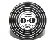 Part No: 4150pb109  Name: Tile, Round 2 x 2 with Vinyl Record with Black Heads with Glasses Pattern