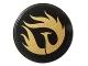 Part No: 4150pb114  Name: Tile, Round 2 x 2 with Gold Phoenix Pattern (Sticker) - Set 9448