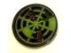 Part No: 4150pb190  Name: Tile, Round 2 x 2 with Neon Green Radar Type 8 Pattern (Sticker) - Set 7697
