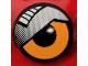 Part No: 4150pb196L  Name: Tile, Round 2 x 2 with Orange Eye and Silver Eyelid Pattern Model Left Side (Sticker) - Set 8307