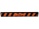 Part No: 4162pb047  Name: Tile 1 x 8 with 'Warning ! Long Vehicle' and Black and Orange Danger Stripes Pattern (Sticker) - Set 8147